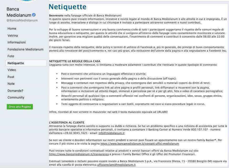 Netiquette di Banca Mediolanum