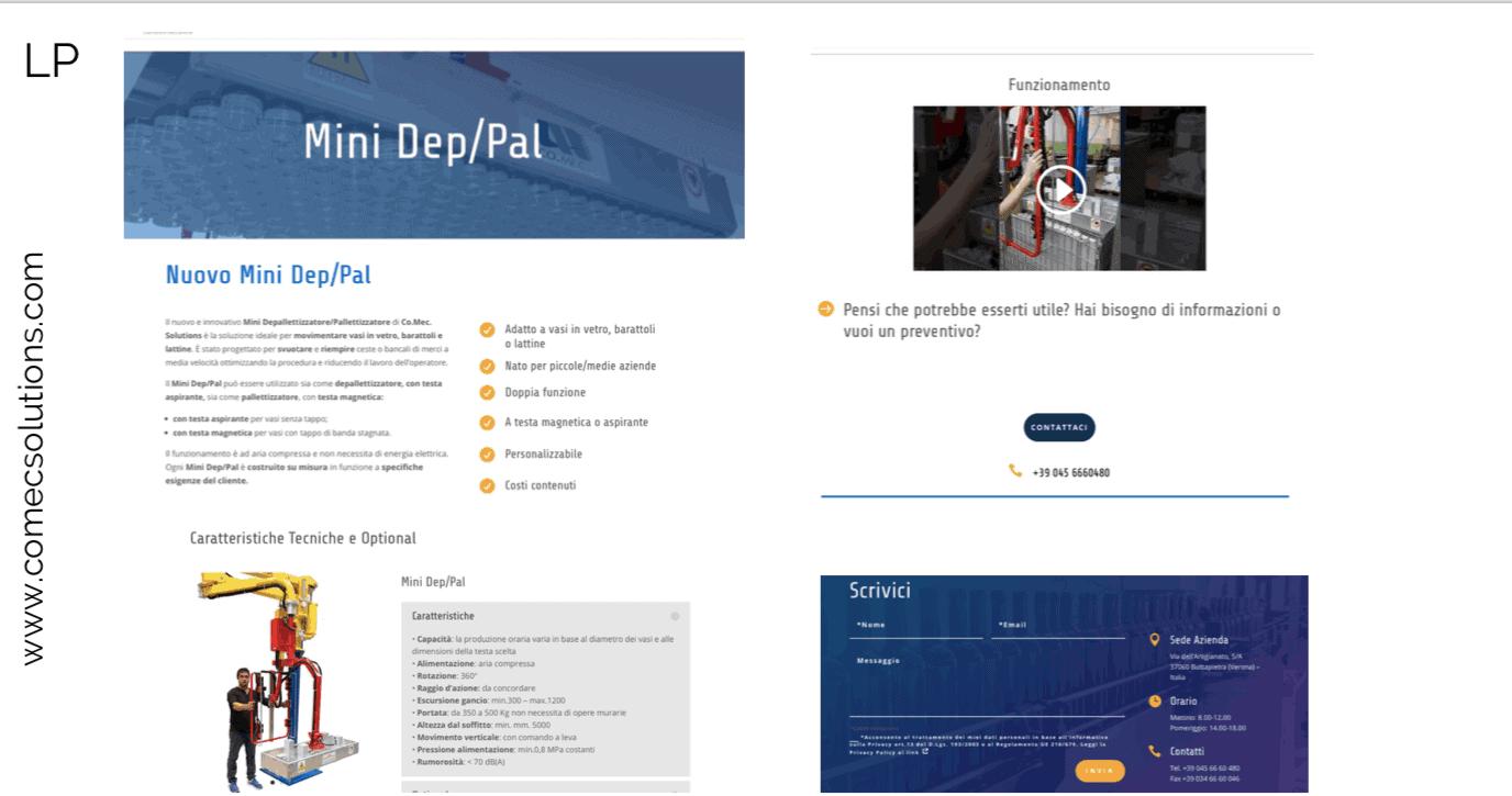 Un esempio di Landing Page del sito comecsolutions.com, un'azienda di carpenteria medio-pesante