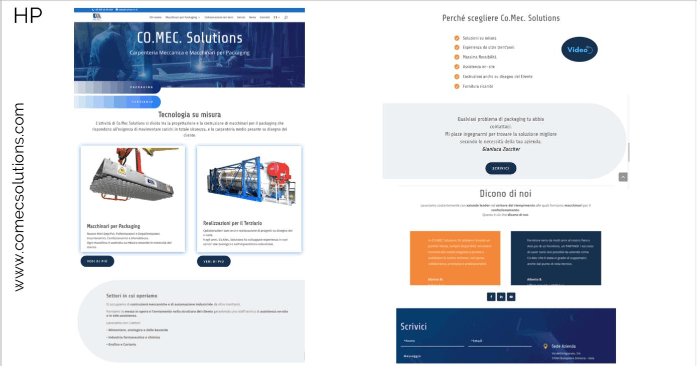 Un esempio di Home del sito comecsolutions.com, un'azienda di carpenteria medio-pesante